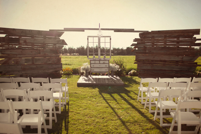 barn wood and vintage dresser backdrop for Oregon ranch wedding ceremony