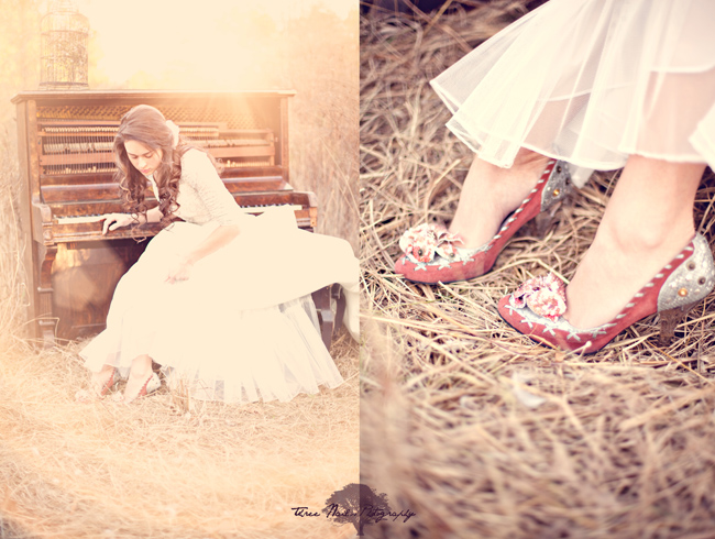 Sun set illuminates bride sitting at vintage piano in the woods for engagement shoot