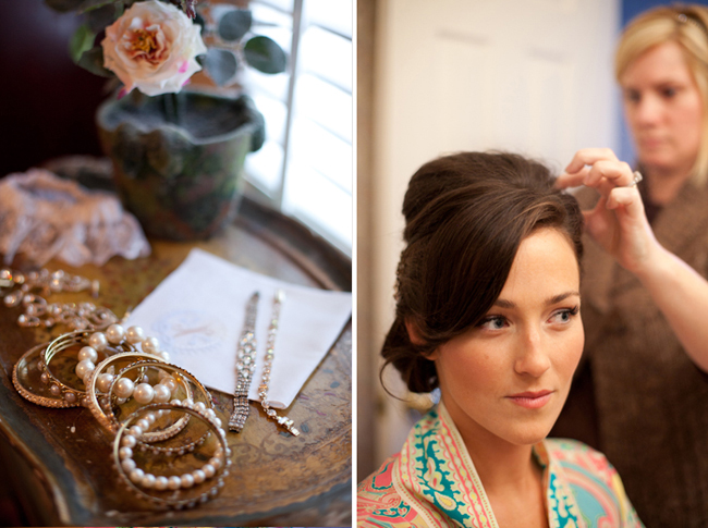Bride getting hair done, along with photo of her jewelry