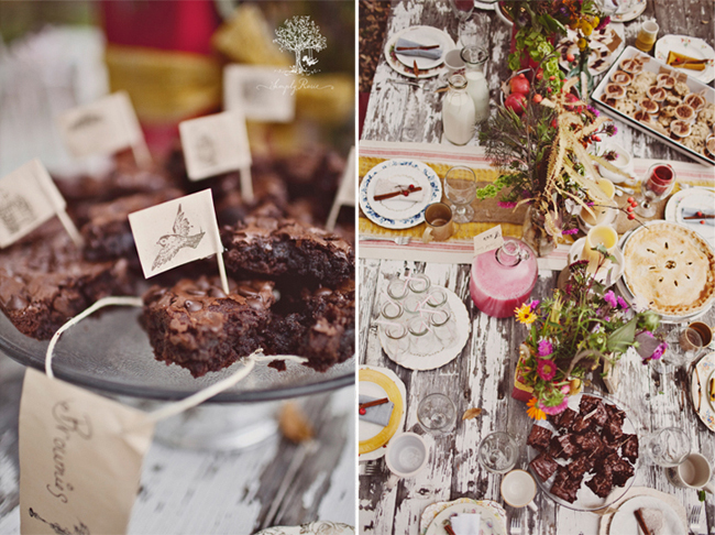Cut brownies on cake stand with toothpick flags with a vintage picture of a bird (left photo); Outside picnic on an old wooden table with colorful flowers and desserts