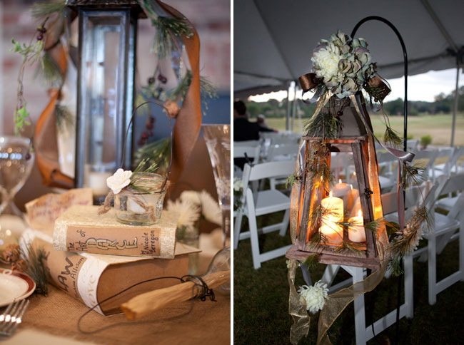 Wedding ceremony under tent with decor elements: hanging wood lantern with lit white candles, branches and flowers