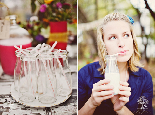 Old milk jugs with red and white straws (left photo) Girl drinking milk from clear vintage milk jug with red and white straw