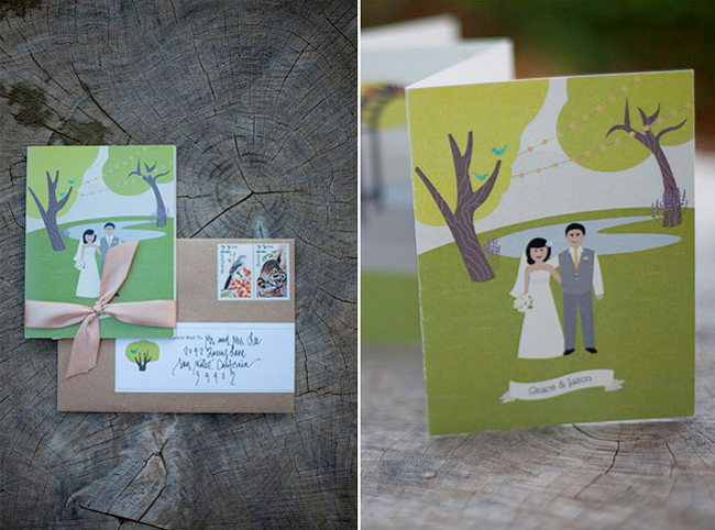 Handmade wedding invitations from Kari Waldrep Design for whimsical outdoor wedding