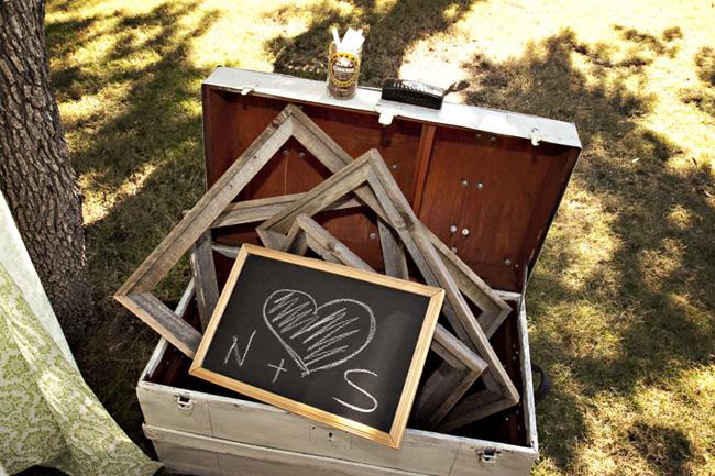 empty wood frames and chalkboard inside open luggage case
