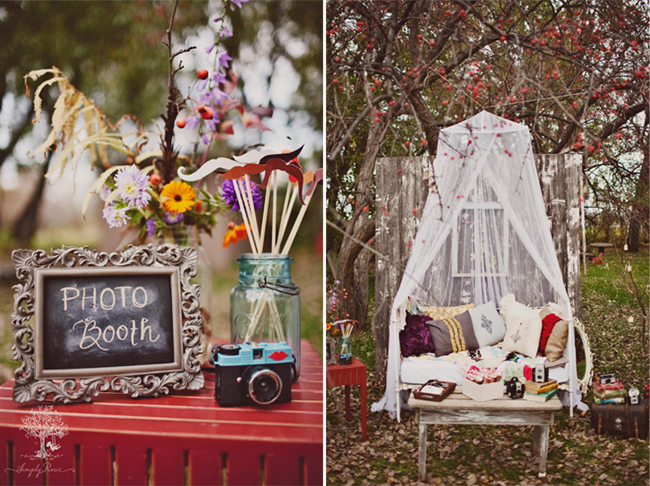 "Chalkboard ""photo booth"" sign with vintage camera and mustaches on stick sitting on red table (left photo); Outdoor picnic with bench with lots of throw pillow and draped sheer fabric hanging from tree  (right photo)"
