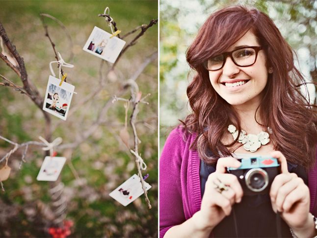 Polaroid photos hanging from tree with mini clothes pegs (left photo); Girl in purple cardigan and chunky necklace holding vintage camera (right photo)