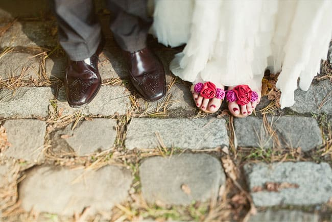 pink peep toe bridal shoes with flower embellishment