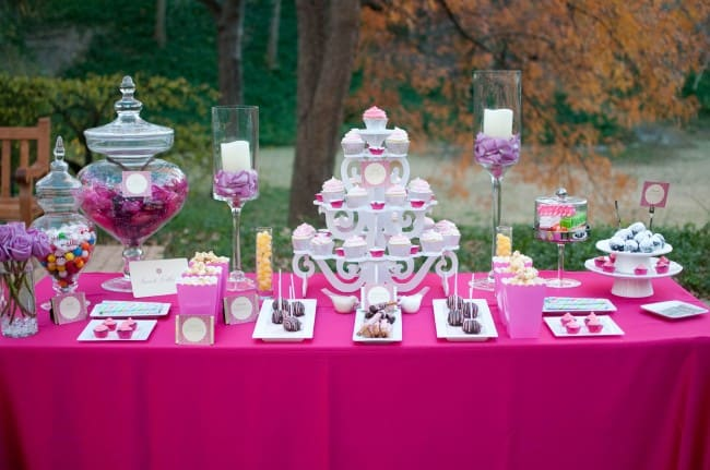 pretty pink outdoor styled wedding dessert bar