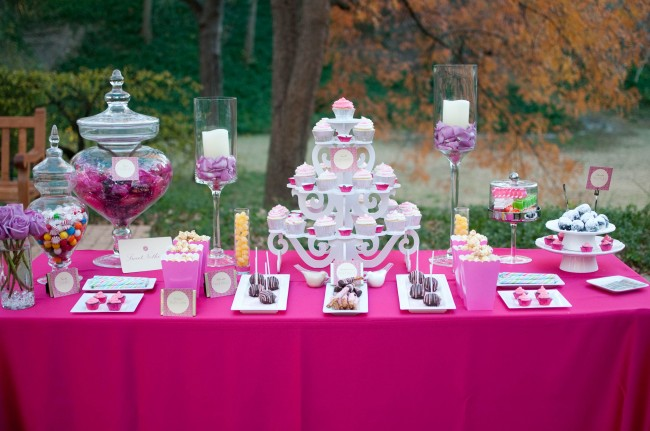 pink table cloth for wedding styled dessert table
