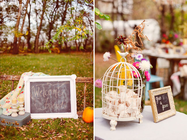 "Chalkboard sign with ""Welcome Friend"" in White ornate frame.  Vintage suit case with 2 candle sticks and a pumpkin on the grass (left photo); Small white birdcage with lavender scented rice sachets party favors inside and a chalkboard frame that says ""grab a favor"""