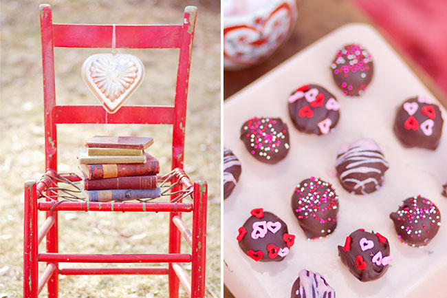 Simple red wood chair with books on it; chocolates with red and pink sprinkles on a plate