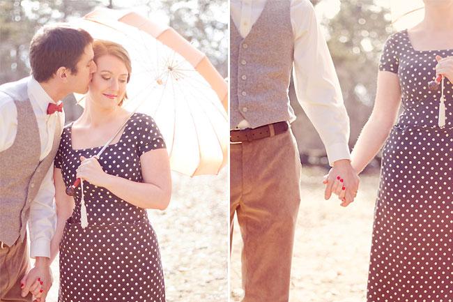 Inspiration bridal shoot - Groom kisses bride on cheak as she holds parasol