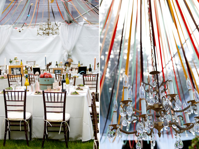 wedding reception at outdoor venue with vintage chandelier hanging over table settings