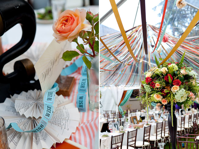 "Carnival wedding centerpiece with peach rose, paper doilies, and a string of printed ""wish tickets"""
