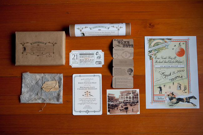 Bride designed invitaions for her vintage inspired carnival wedding in Seattle