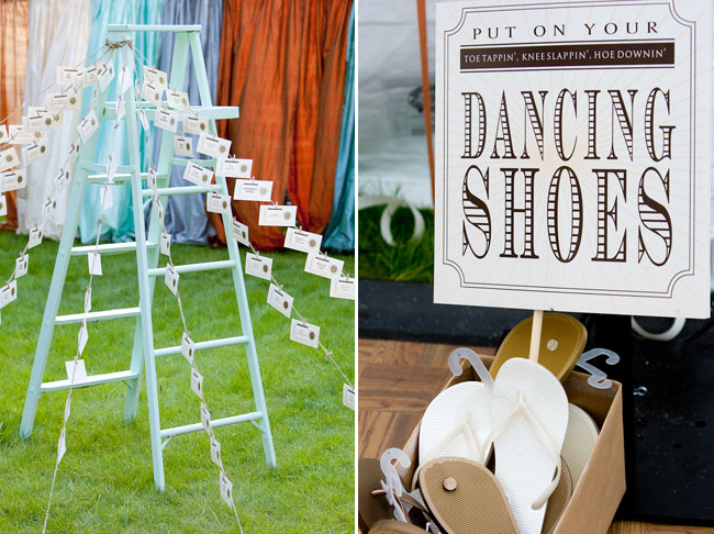 "Baby blue painted wood ladder with strings of wedding name cards attached leading to the grass ground. Photo of sign that says ""Put on your dancing shoes"""