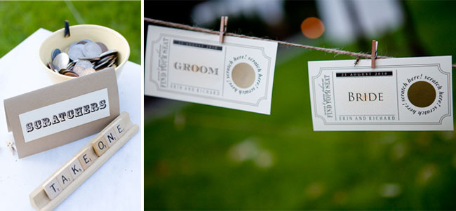 Scratch tickets hanging from mini clothespin on a line with scrabble letter sign for wedding reception