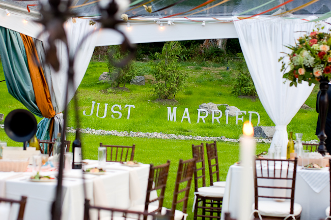 "Giant letters on the lawn that say, ""Just Married"""
