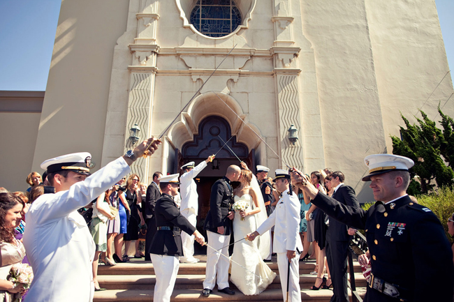 Marine Corp sword salute for couple outside Sacred Heart Catholic Church Ocean Beach