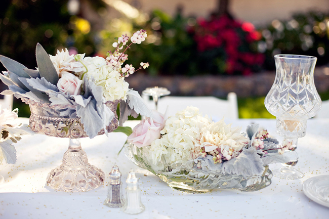 vintage centerpieces with flowers in muted tones