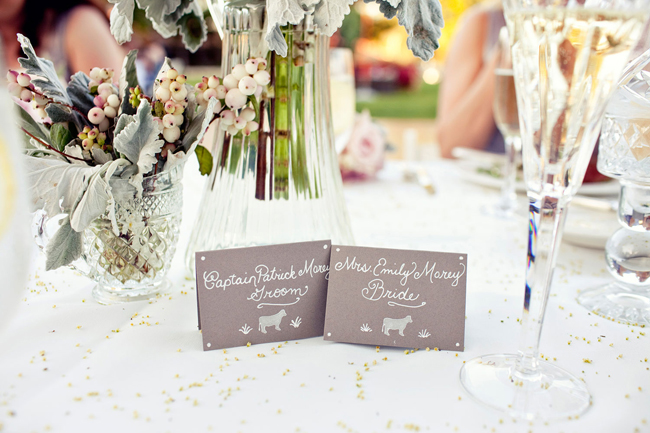 bride and groom table card seating cards