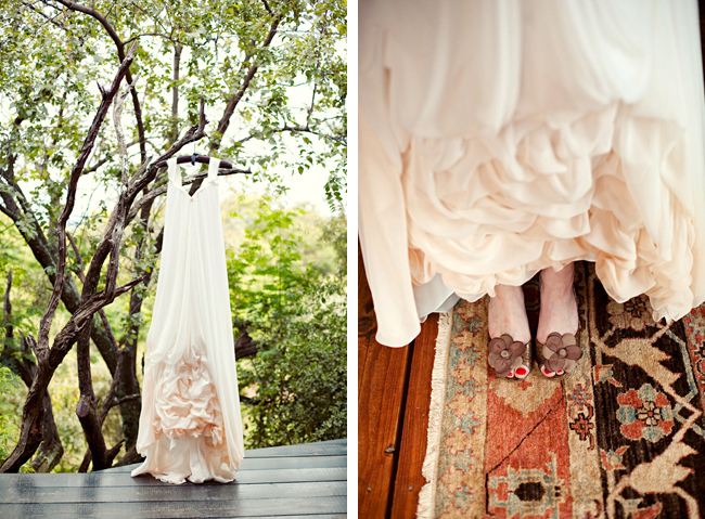 light peach wedding dress hanging on tree branches at Red Ivory Lodge wedding in South Africa