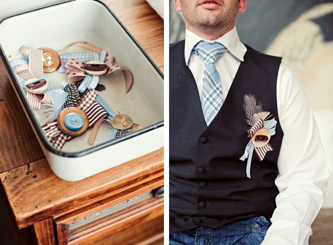 Ribbon and button boutonnieres with groom wearing dark color vest and striped light blue necktie