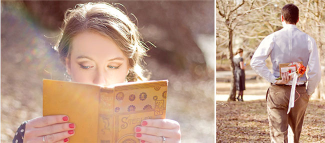 makeup by Artistic Expression on bride holding up book at engagement session