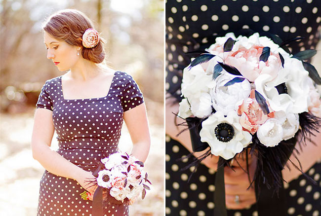 engagement shoot bride holding bouquet with anemones with black feather accents