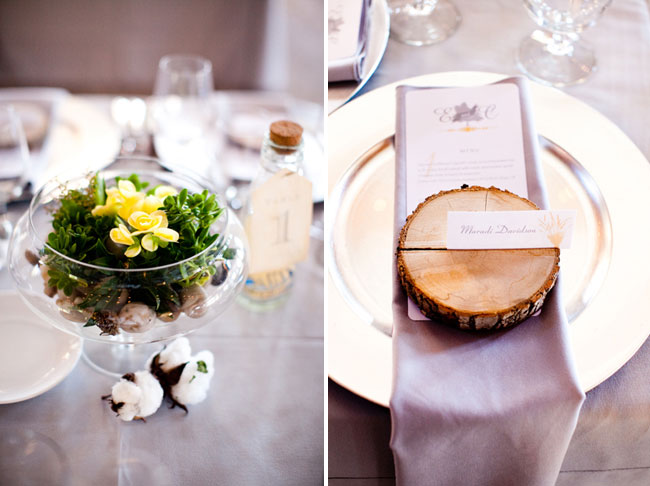 wood round place card holder on menu and charger