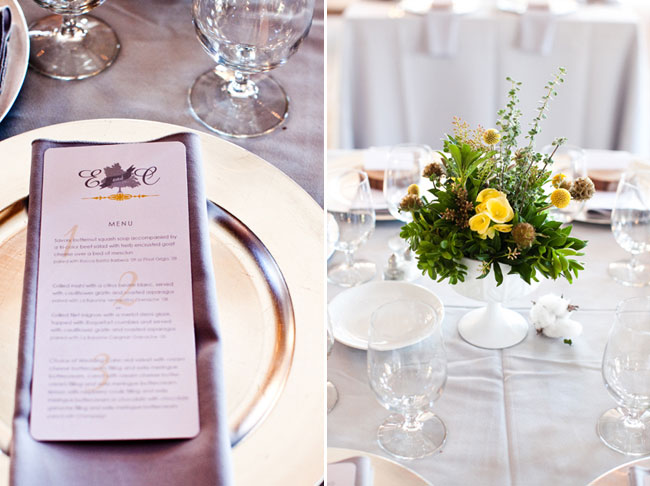 Bride custom designed menu for Boone Hall Plantation wedding reception