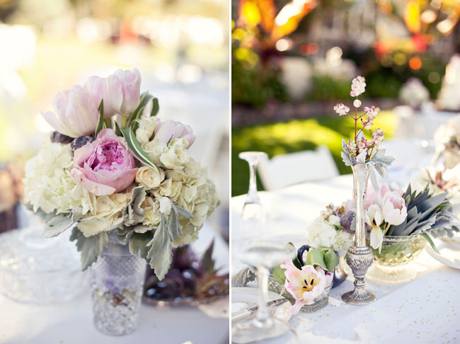 vintage centerpieces with flowers in shades of ivory, blush and grey