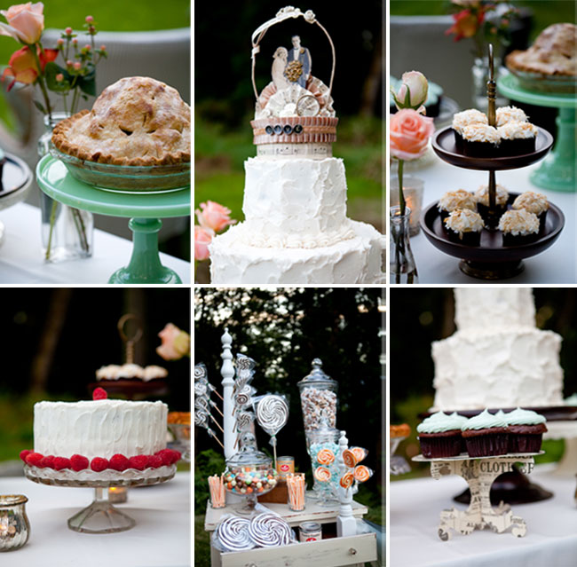 Collage of desserts for carnival wedding: apple pie, wedding cake, chocolate cupcakes, real raspberries, and candy station