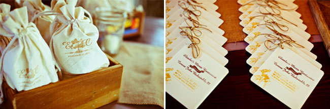 cloth bag favors in wood crate