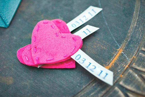 pink felt hearts