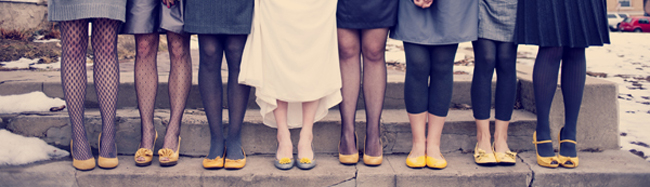 Bridesmaids in yellow shoes