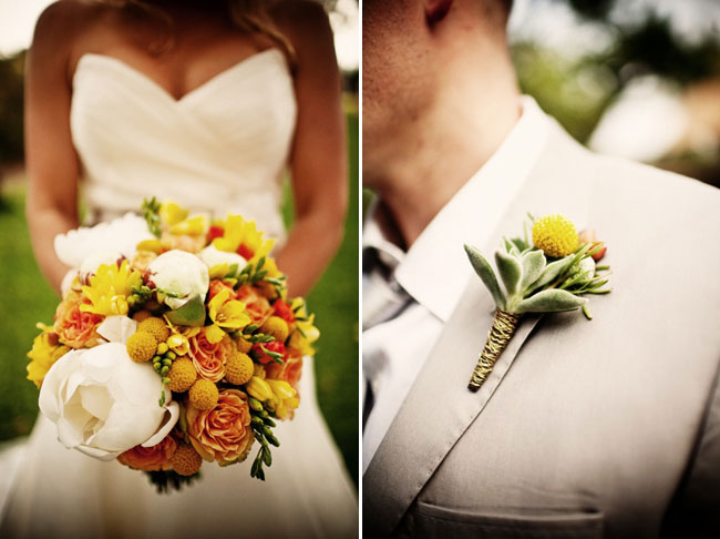 bridal bouquet for Kona island wedding; groom with billy ball boutonniere