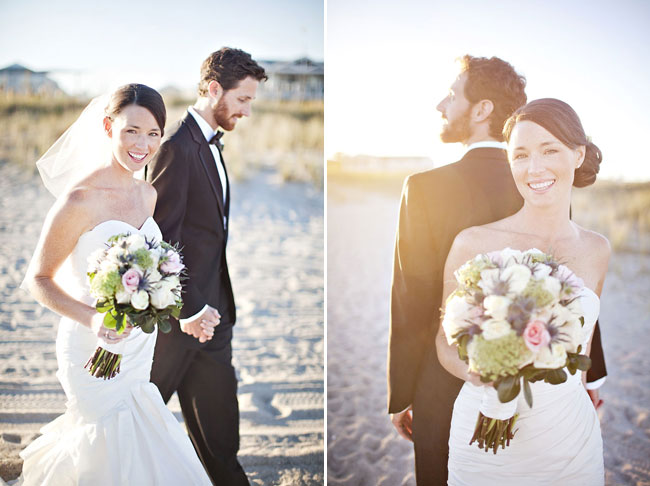 Newlyweds walk on beach at Carolina Yacht Club