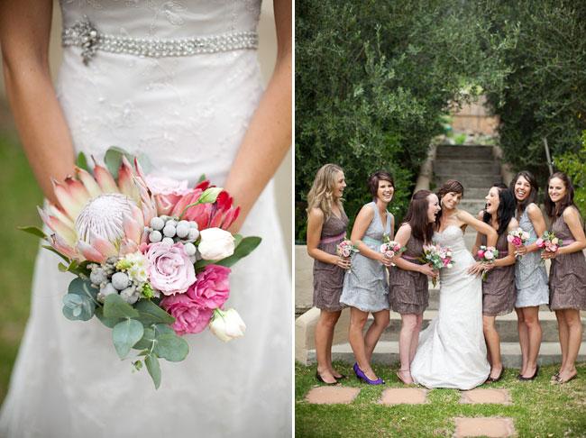 Bride holding protea bouquet