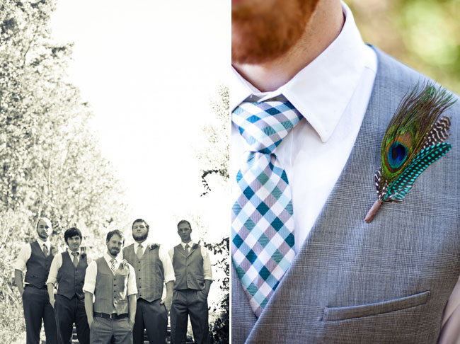 groom wearing peacock feather boutonniere, striped turqouoise necktie, and jacket