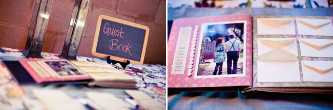 scrapbook of couple on the guestbook table