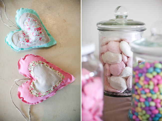 handmade fabric hearts; candy in jars
