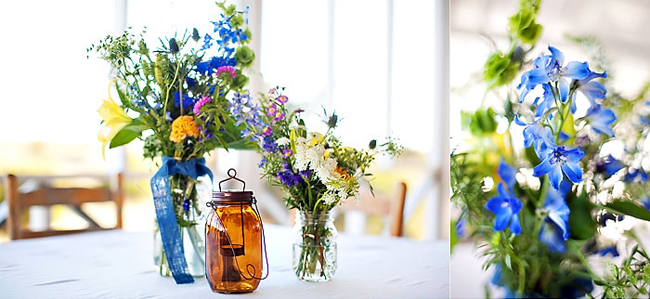 Brown color mason jar and blue fowers