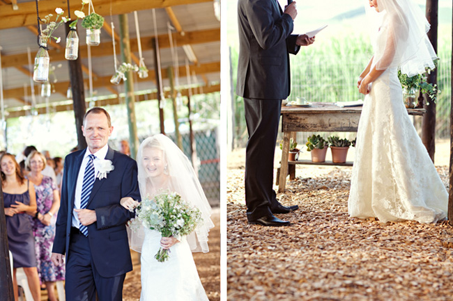 father and bride walk together at sugar cane farm wedding ceremony