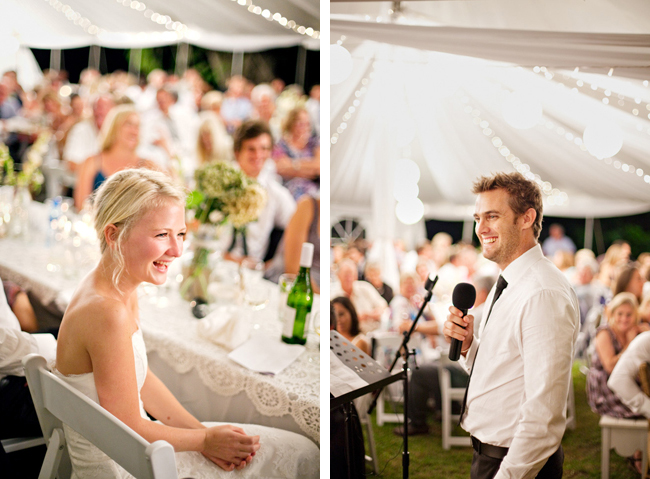 photos of bride smiling and groom making a speech