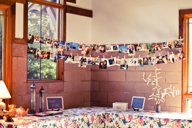 indoor guestbook table with photos for wedding at Colonel Francis Beatty Park