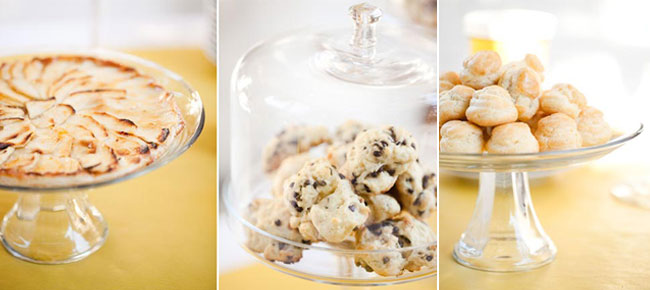 cookies and puff desserts on platters