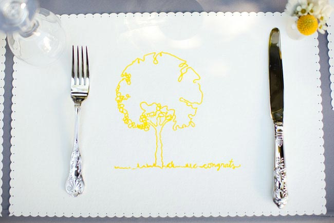custom silk screen placemat with yellow tree outline