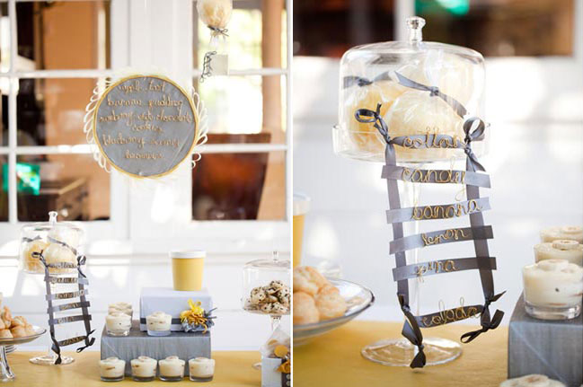 ladder made from ribbon and gold wire at dessert table