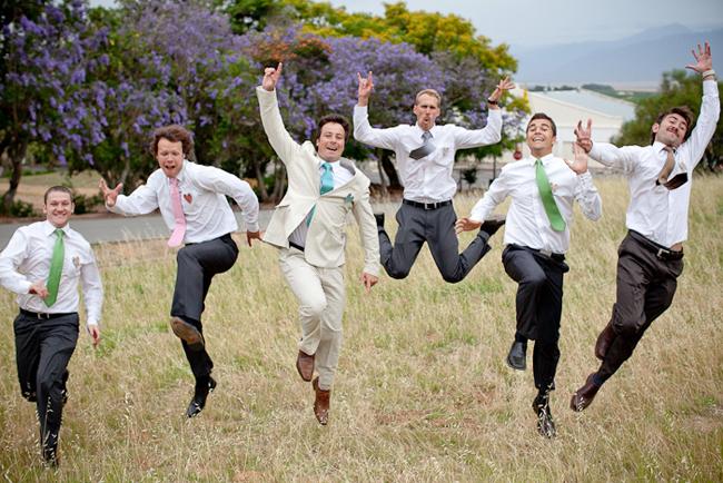 Multi colored neckties for groom and groomsmen
